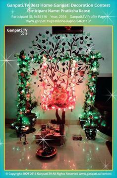 Pratiksha Kapse Home Ganpati Picture 2016. View more pictures and videos of Ganpati Decoration at www.ganpati.tv