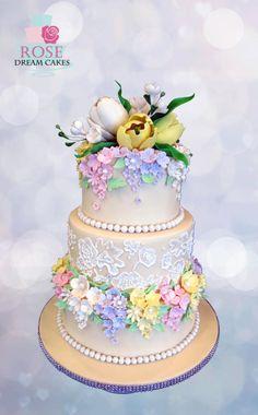 Spring Wedding Cake by Rose