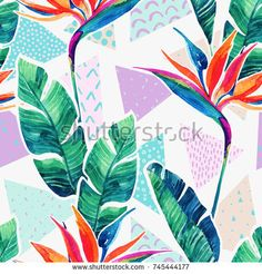 Watercolor tropical flowers on geometric background with doodles. royalty-free watercolor tropical flowers on geometric background with doodles stock vector art & more images of tropical pattern Design Tropical, Tropical Pattern, Tropical Prints, Art And Illustration, Tropical Flowers, Watercolor Flowers, Watercolor Art, Line Art, Drawn Art
