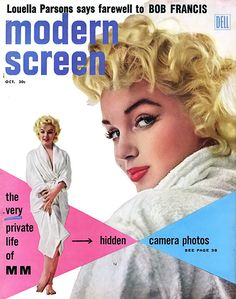 October 1955 - MODERN SCREEN That famous tousled look in the terrycloth bathrobe from The Seven Year Itch, shot during production in 1954. ''The Very Private Life of MM'' turns out be a very interesting account of Marilyn's days in New York City as she attends the Actors Studio under the tutelage of Lee Strasberg, sans makeup and gold lamé gowns. The piece is illustrated with candid shots of her hanging out with the likes of actor Jack Lord and playwright Michael Gazzo. She looks happy.