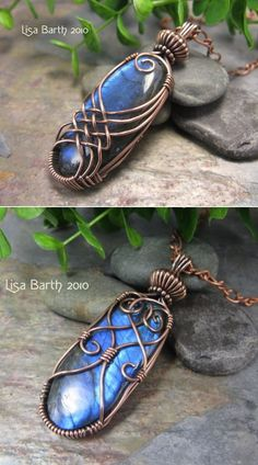 Variation on a Criss-Cross Wire Wrap tutorial, front and back.