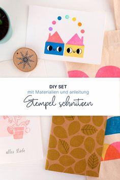 Schnitzt eure eigenen Stempel mit diesem DIY Set – ein perfekter Einstieg in die Welt der Drucktechniken! Alle notwendigen Materialien sind dabei. Material, Diy, Printmaking, Wood Carvings, Printing, World, Tutorials, Creative, Bricolage