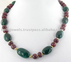 Handmade Beaded Jewelry   Natural Emerald Ruby Beads Handmade Necklace Jewelry India - PayPal ...