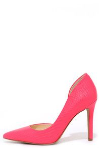 Ditch the clodhoppers, and go for something cultivated like the Jessica Simpson Claudette Laser Pink Snakeskin D'Orsay Pumps! Snakeskin-embossed faux leather makes a gorgeous hot pink upper with a pointed toe and a sexy D'Orsay cutout along the instep. #CuteDresses #TrendyTops, #FashionShoes #JuniorsClothing