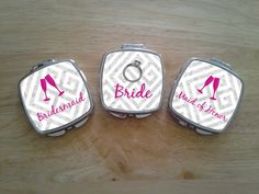 Set of 3 Personalized Monogrammed Compact Mirror. Great For Bachelorette, Wedding, Graduation, Mother's Day. Order Individual Or As A Set