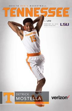Detrick Mostella is featured on the front of the stadium-exclusive Tennessee Volunteers Men's Basketball Roster Card vs. LSU on Feb. Vols Basketball, Go Vols, University Of Tennessee, Tennessee Volunteers, Lsu, Athlete, College, University, Colleges