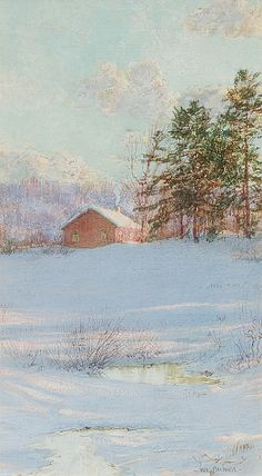 WALTER LAUNT PALMER, American (1854-1932), Snow Scene, pastel on paper, signed lower right., 11 1/2 x 6 1/2