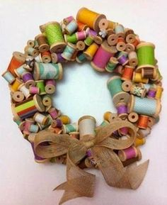 such a creative idea! I have old wooden spools from my mother. Used a small styrofoam wreath, wrapped it in strips of material and glued the wooden spools on. Made a bow and put on bottom. All ready to hang in my sewing room. Wreath Crafts, Diy Wreath, Burlap Wreath, Wreath Ideas, Crafts To Make, Fun Crafts, Arts And Crafts, Spool Crafts, Sewing Crafts