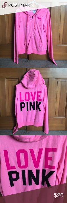 Victoria secret pink hoodie Victoria secret pink hoodie. The words pink in the back are sewn on with patch like letters. PINK Victoria's Secret Tops Sweatshirts & Hoodies