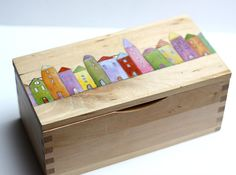 Houses hand painted wooden box by rodica on Etsy