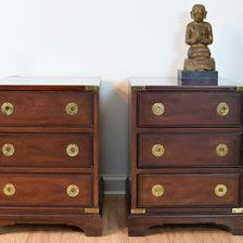 Mid Century Drexel Mahogany Campaign Nightstands