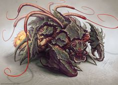 Austen mengler red whip thresher by lordnetsua Curious Creatures, Alien Creatures, Fantasy Creatures, Mythical Creatures, Monster Concept Art, Monster Art, Creature Feature, Creature Design, Beast Creature