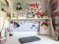 Bedroom desk, pastel room, aesthetic bedroom, decorate your room, bts merch Army Room Decor, Army Decor, Army Bedroom, Bedroom Desk, Pastel Room, Teen Girl Rooms, Aesthetic Room Decor, Decorate Your Room, Room Tour