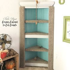 Sarah's DIY Feature: Corner Cabinet to Cat Condo by Clover House