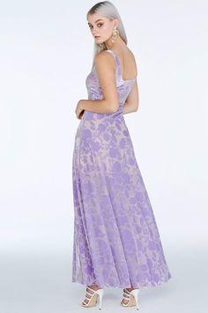 Burned Velvet Lilac Maxi Dress - Limited - Sale