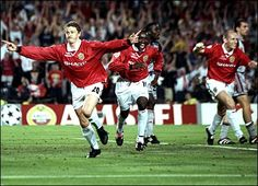 The 1999 UEFA Champions League Final was a football match that took place on Wednesday, 26 May 1999. The match was played at Camp Nou in Barcelona, Spain, to determine the winner of the 1998–99 UEFA Champions League. The final was contested by Manchester United and Bayern Munich. The match is best remembered for Manchester United scoring two last-minute goals in injury time to win 2–1, after having trailed for most of the match.