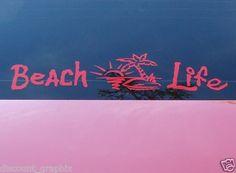 BEACH LIFE SALT DECAL STICKER PALM SUNSET OCEAN 3 SIZES | eBay