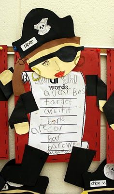 "Use pirate theme to teach ""ar"" word family -- ""ar""ghhh! can also have students make treasure map of ""ar"" words- WORDS OF THE WEEK!"