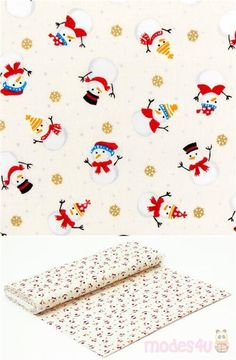 lovely off-white shirting cotton fabric with Christmas pattern of tossed small snowmen in red winter hats and clothes, with tumbling golden metallic snow flakes, 100% cotton, high quality fabric from Japan #Cotton #Characters #Metallic #JapaneseFabrics