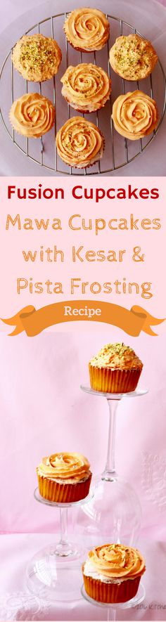 Fusion Desserts - Mawa Cupcakes With Kesar Pista Frosting Recdipe of Fusion cupcakes- mawa cupcakes with Indian flavors of Elaichi and rose with Kesar (Saffron ) and Pista frosting. Indian Desserts, Indian Sweets, Indian Food Recipes, Frosting Recipes, Dessert Recipes, Pudding Icing, Galaxy Desserts, Holi Recipes, Cake Liner