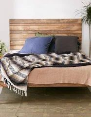 Slatted Wooden Headboard - Brown at Urban Outfitters