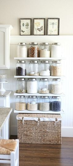 We love the look of exposed shelving that showcases your cooking and baking essentials in clear canisters! With this collection of 23 Rustic Farmhouse Decor Ideas you're sure to get inspired to keep your kitchen organized and update its design in one fell swoop. RePinned By: *Doniele Disney* www.poppiespaintpowder.com
