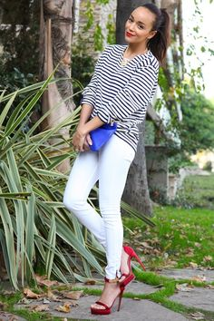 Ashley Madekwe Stripes and white red heels