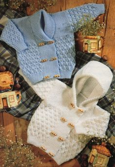 PDF Digital Knitting Pattern Baby Childresn Duffle Toggle Cardigans Jackets Shawl Collar or Hood 18-26 DK
