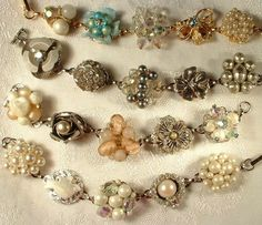 bracelets made with vintage earrings - I have been collecting theses for a while now by marcia aparecida de barros