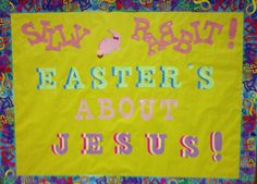 Easter for kids. Easter Bulletin Boards, Christian Bulletin Boards, Interactive Bulletin Boards, Classroom Board, Classroom Bulletin Boards, Classroom Crafts, Sunday School Classroom, Sunday School Lessons, Bible School Crafts
