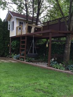 My kids tree house. Equipped with a secret trap door slide, fire pole, tire swing, rope and pulley with a hook, for bringing up the toys and a spot for dads 5x10 hammock