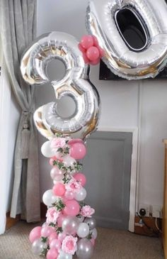 Organic Balloon Number Column Beautiful Organic style balloon column with flowing Ivy & silk flower Peonies