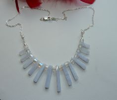 Wynngifu - Sonia J Jewellery  handmade sterling silver and blue lace agate tapered necklace