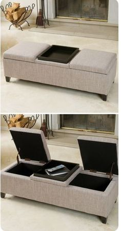 Leather storage ottoman coffee table home 20 Ideas Diy Storage Ottoman Bench, Diy Ottoman, Bench With Storage, Table Storage, Storage Shelves, Leather Ottoman Coffee Table, Garage Ceiling Storage, Diy Garage, Home Decor Accessories