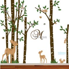 This birch tree vinyl wall decal mural is sure to be the perfect way to transform your childs nursery.The set includes birch trees with leaves and
