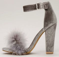 d3edf555940 KABAM GREY FEATHER OPEN TOE ANKLE STRAP CHUNKY HEEL. JUST  10.88! Wholesale  Fashion Shoes