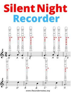 🥇Silent Night Recorder Notes ▷ Learn to play it ! Piano Sheet Music Letters, Piano Music Easy, Easy Sheet Music, Recorder Notes, Recorder Music, Song Notes, Music Notes, Silent Night Sheet Music, Piano Lessons For Beginners