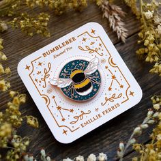 Bumblebee Enamel Pin, Bee Badge, Bee Talisman Celestial Bee pin, by Emillie Ferris Talisman, Little Presents, Bee Design, Toxic Vision, Cool Pins, Psychobilly, Pin And Patches, Pin Badges, Digital Pattern