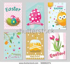 Set Of Spring And Easter Gift Cards And Posters With Cute Cartoon