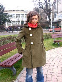lovely coat. inspo for oversized men's corduroy shirt refashion