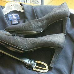 "High heel pumps Navy 3"" heels w/ embellished leather, B width Bruno Magli Shoes Heels"