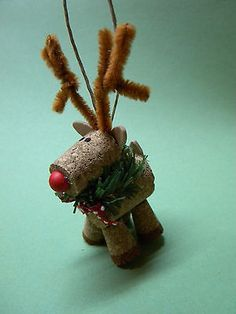 Handmade Wine Cork Reindeer Ornament 4 for sale online Wooden Reindeer, Reindeer Ornaments, Wooden Christmas Ornaments, Baby Ornaments, Santa And Reindeer, Christmas Table Decorations, Hanging Ornaments, Winter Decorations, Wine Cork Projects