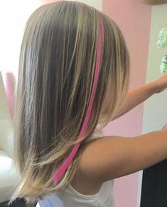 50 Cute Haircuts for Girls to Put You on Center Stage Medium Layered Girls' Haircut - pink stripe! Girls Haircuts Medium, Little Girl Haircuts, Cute Haircuts, Haircuts For Long Hair, Short Haircuts, Haircut Medium, Easy Hairstyles, Young Girl Haircuts, Layered Haircuts
