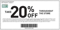 20% off Total Purchase Coupon! Dicks Sporting Goods Printable Coupon Shopping Day November 2013 and more Dicks coupons here http://www.chachingqueen.com/dicks-sporting-goods-coupons-october-2013-printable/