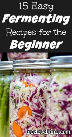 15 EASY fermenting recipes for the fermenting beginner! Fermented foods help diversify our gut microbiome. Eat TBSP every day. Fermentation Recipes, Canning Recipes, Raw Food Recipes, Vegetable Recipes, Healthy Recipes, Healthy Cooking, Pickeling Recipes, Home Fermenting, Beginner Recipes