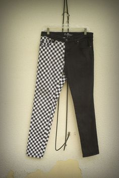 SOLD SOLD SOLD SOLD SOLD Royal Bones Jeans Hybrid Finish Line Racer Gothic Punk Size 34 #RoyalBones #SlimSkinny #fashion #hipster #trend #checkers #jeans #hybrid