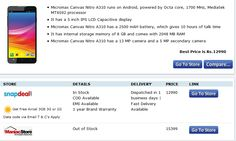 Best #price to #buy #Micromax #canvas Nitro A310 is 12990