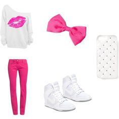 """""""pink and white"""" by jsf2004 on Polyvore"""