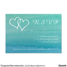 Turquoise blue watercolor RSVP beach wedding cards Turquoise blue watercolor RSVP beach wedding cards. Part of a theme set. Give your guests a way to respond if they are coming to your elegant beach marriage. This design goes together with the wedding reception invitations. Customizable text and paper quality. Chic Script typography. Aqua blue and sea green colors. Interlocking hearts.