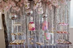Just Dance with this cool Disco birthday party! Love the sparkly back drop at this Disco Birthday Party!! See more party ideas and share yours at CatchMyParty.com #discoparty #backdrop #partydecorations